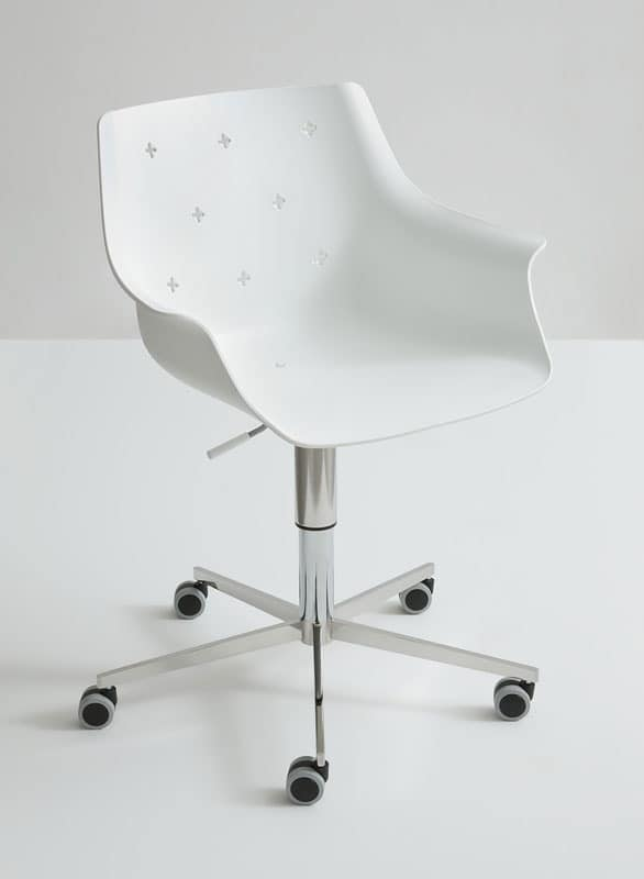 More 5R, Design adjustable chair, with wheels, polymer shell