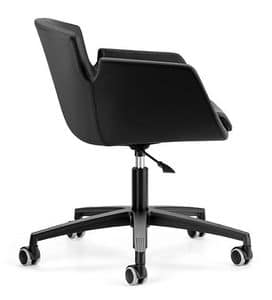 NUBIA 2905, Upholstered chair, aluminum base with wheels for office