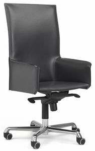 Pasqualina high swivel armchair 10.0093, Office chair on castors, with high backrest