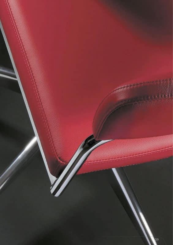 Rabbit castors, Office chair with wheels, chromed frame, rubber wheels