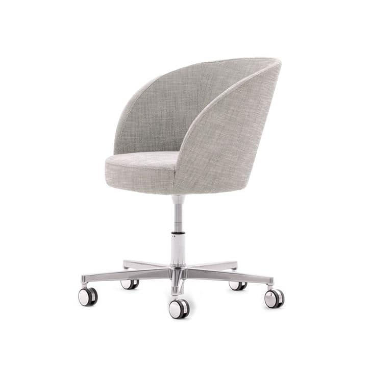 Rose 03033, Modern armchair, upholstered seat, metal frame with wheels