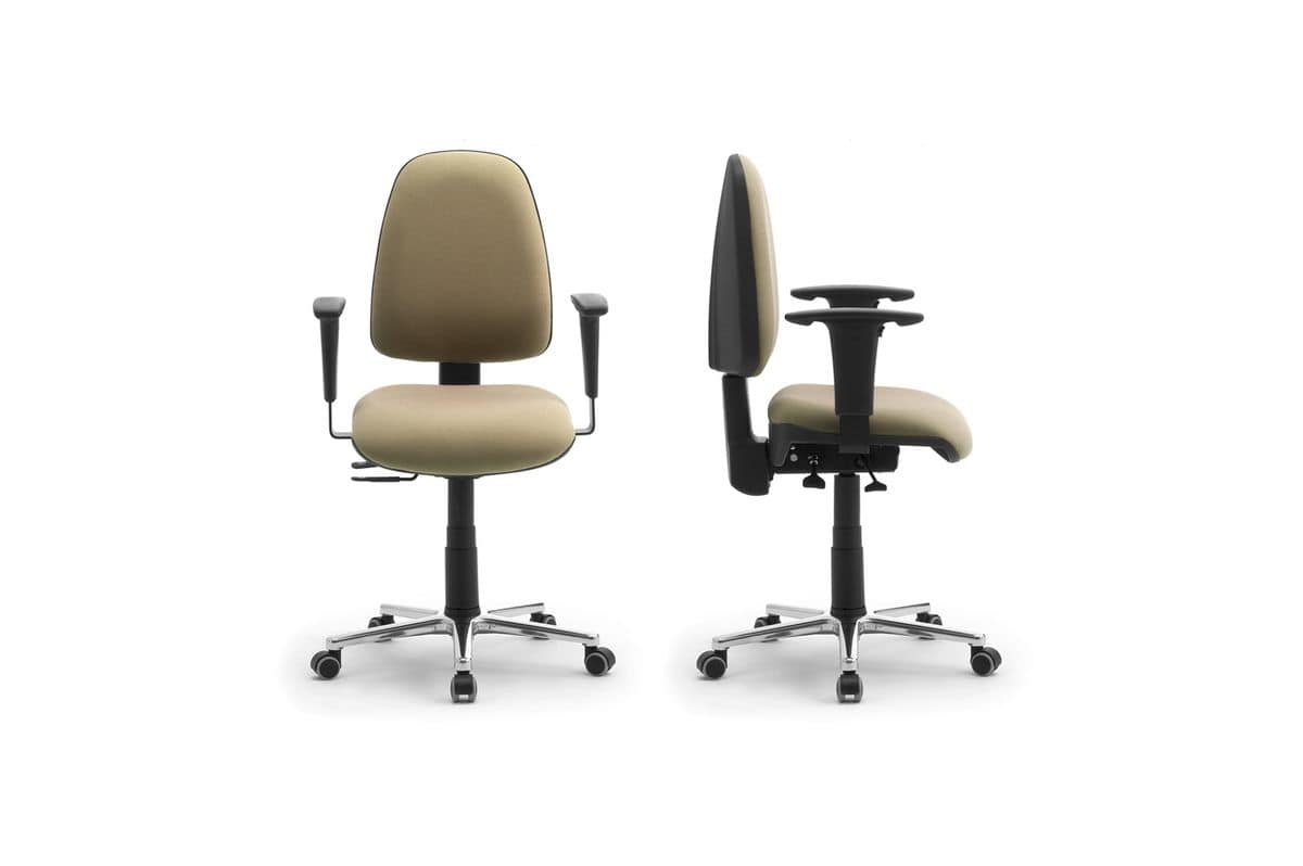 Synchron Jolly task 195759, Swivel chair on wheels, covered in fabric, for office