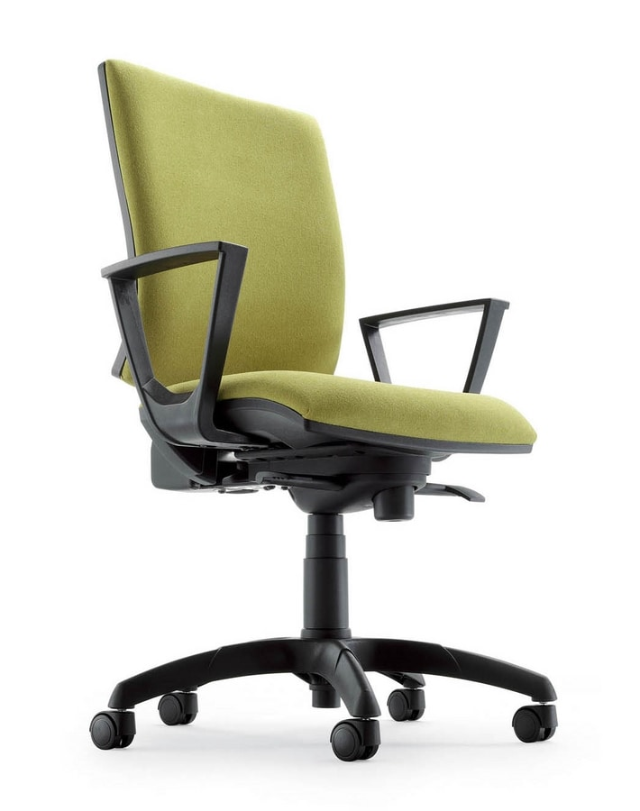 UF 333 / A, Task chair upholstered, with armrests and chromed base