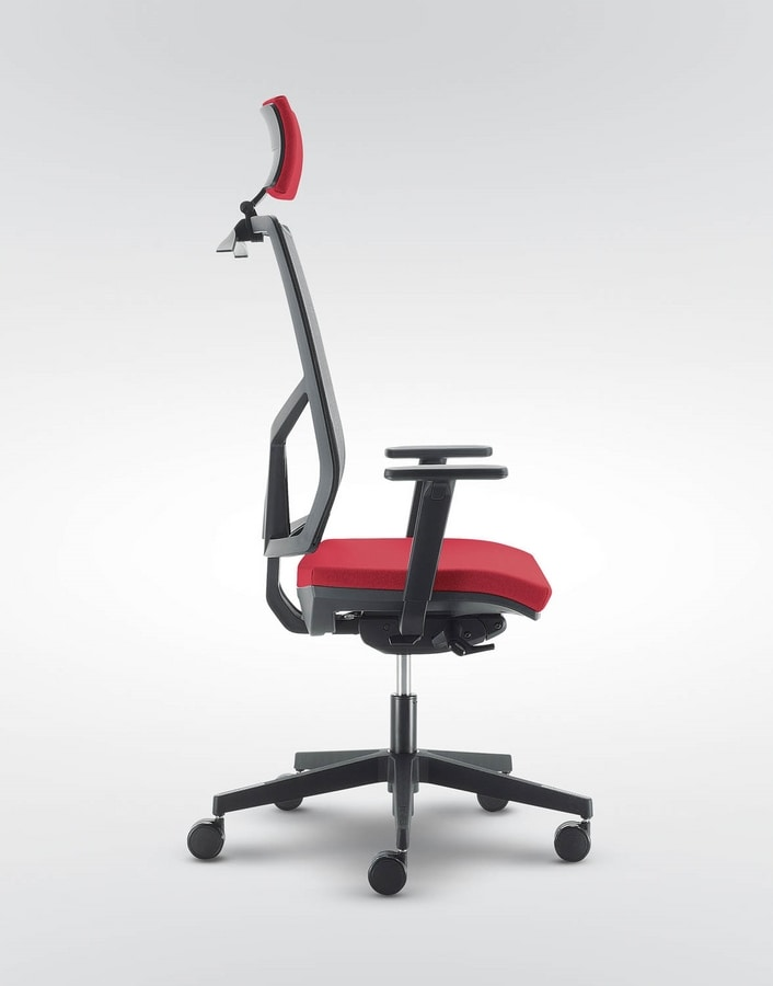 UF 430 / A, Solid and silent chair for office, with square lines