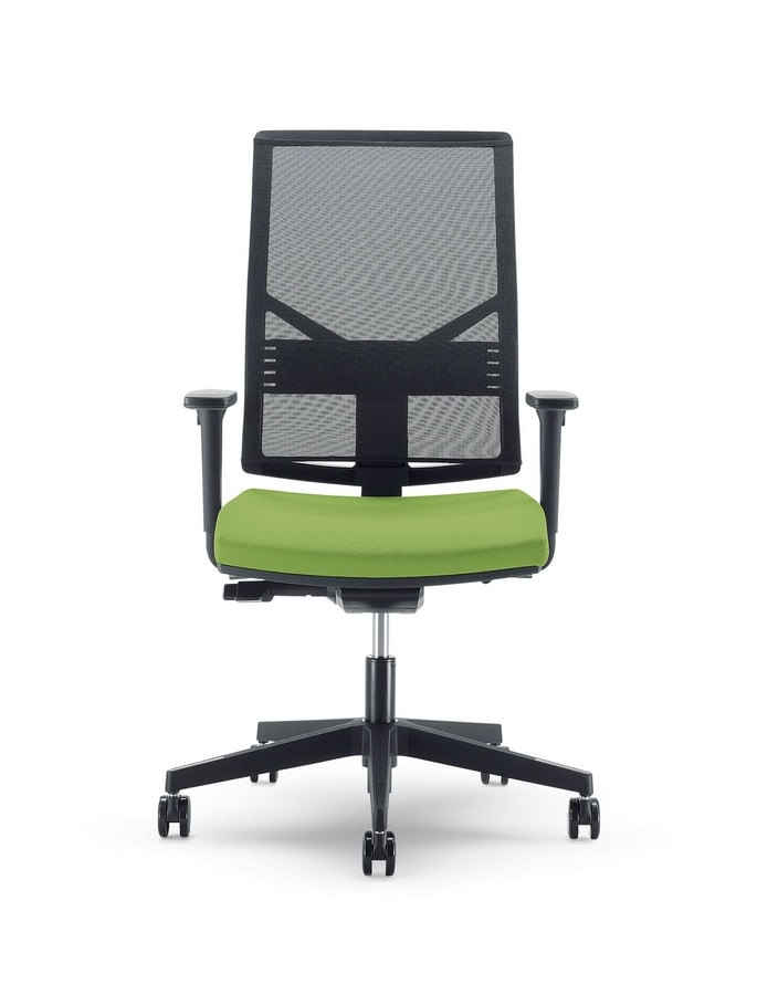 Uf 431 B Modern Chair With Mesh Backrest And Wheels For Office