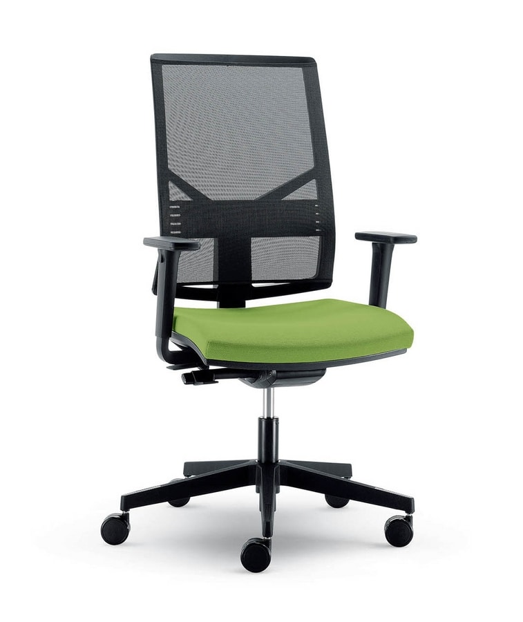 UF 431 B, Modern chair with mesh backrest and wheels, for office
