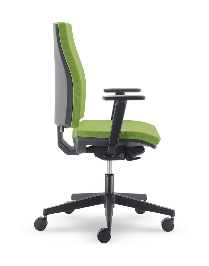UF 441 / B, Silent office chair with wheels, coated nylon