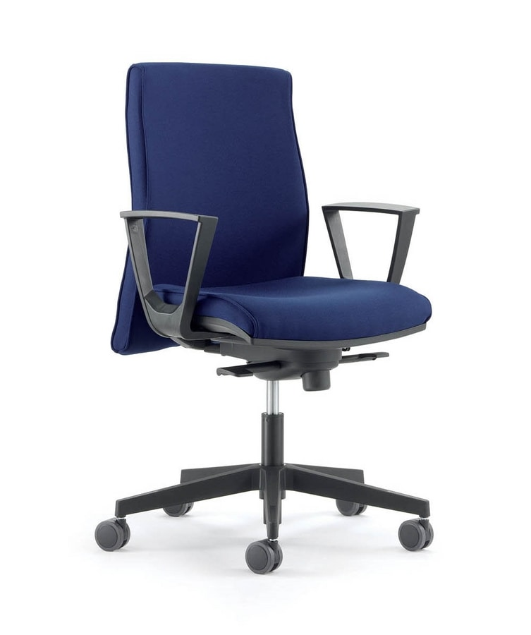 UF 446 B, Chair with wheels, with adjustable armrests, for office