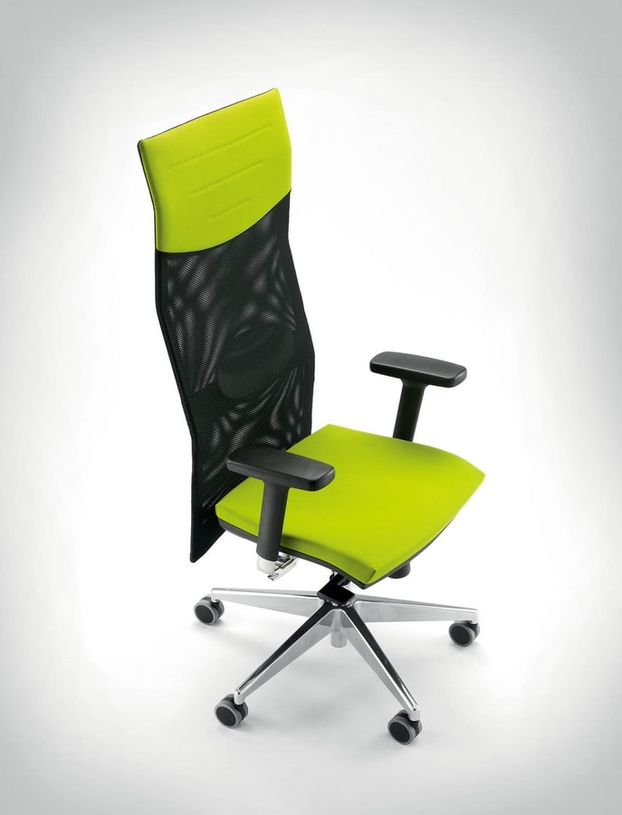 UF 496 A, Task chair with high mesh backrest, solid