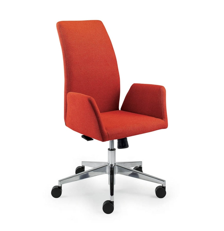 UF 509 / A, Padded chair with rubber wheels and curved backrest