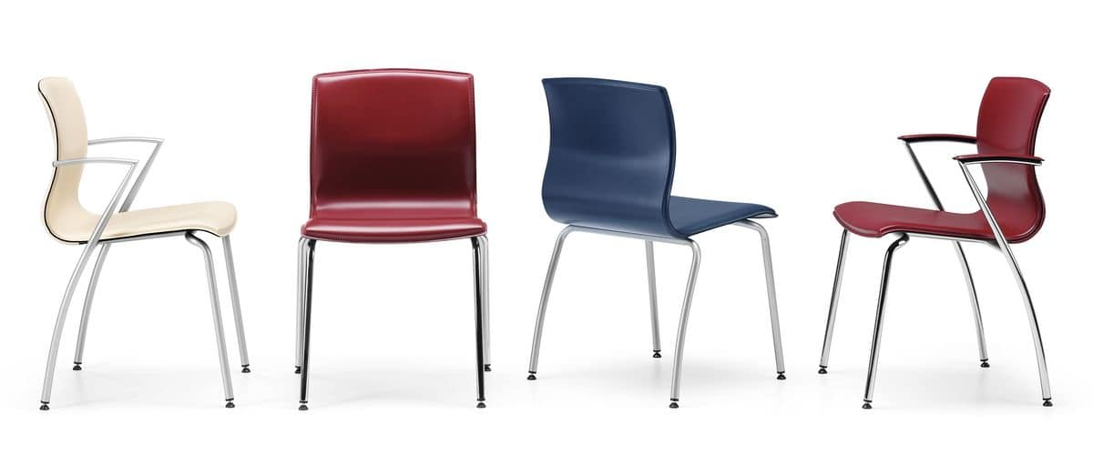 WEBTOP 384 R, Metal chair with wheels, seat covered in leather