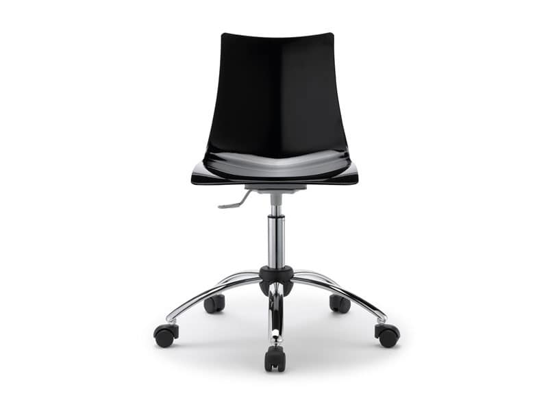 Zebra antishock with wheels, Chair in steel and polycarbonate with wheels, for office