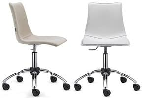 Zebra Pop with wheels, Upholstered seat, adjustable in height, with wheels, for office