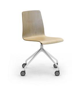 Zerosedici Wood swivel, Swivel chair with castors