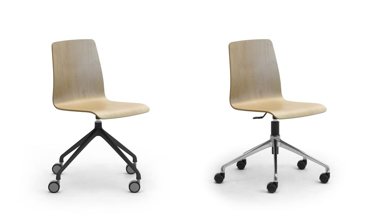 Zerosedici Wood swivel, Swivel chair with castors