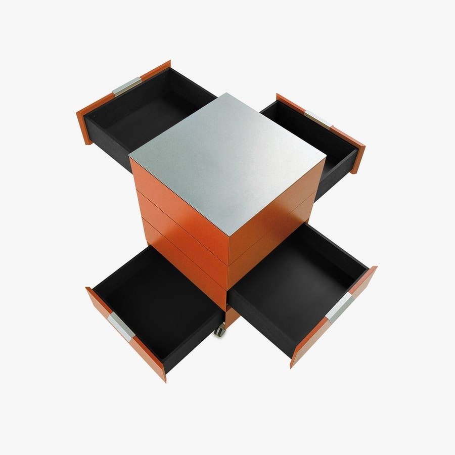 PRISMA comp.01, Drawers with wheels in minimalist style, for office