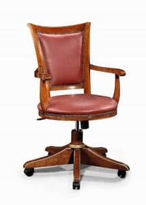 Art. 530g, Chair with wheels, with solid wood frame