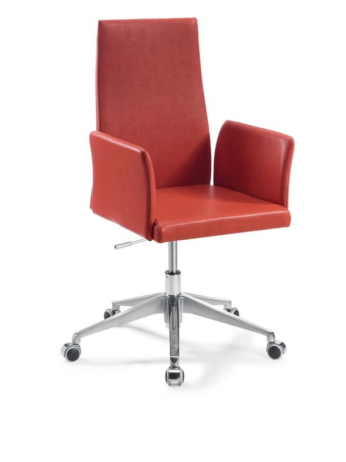 Castelfranco Office, Swivel chair with chrome base, for houses and offices