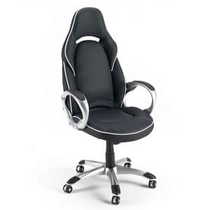 Chair armchair gaming sports office - SU131RAC, Office chair in faux leather, with sturdy armrests
