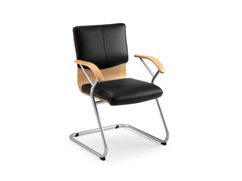 Ducale Lux guest 46340, Office chair with wooden shell and leather padding