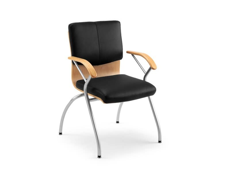 Ducale Lux guest 46360, Office chair made of metal, wood and leather
