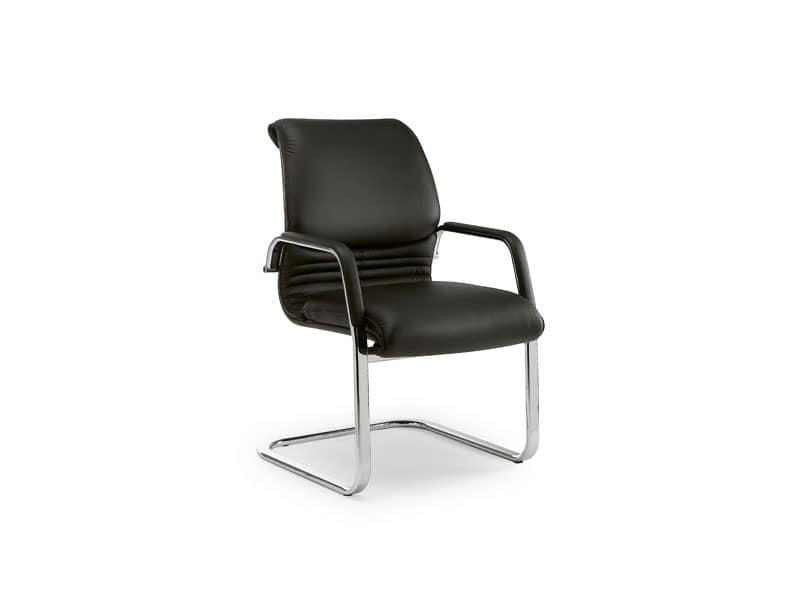 Elegance guest 2880, Office chair made of chromed metal, leather upholstery