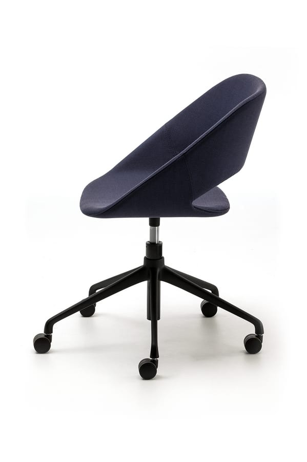 Kabira HO, Swivel chair with five wheels, in polished aluminum