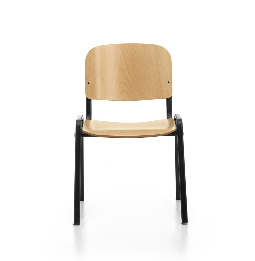 Leo Wood, Stackable chair for community, in metal and plywood