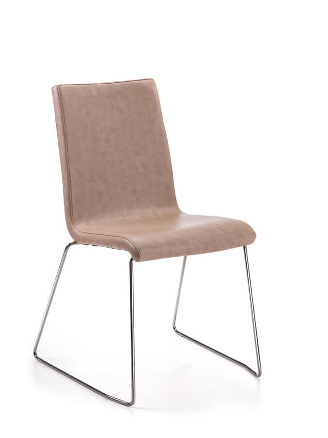 Loria, Padded sled chair in rod, for waiting rooms