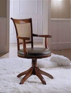 M 616, Swivel chair with Vienna straw, with armrests