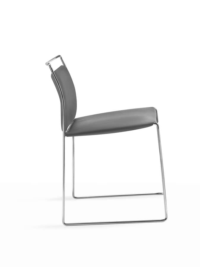 Mogliano, Slide upholstered chair, for office and waiting rooms