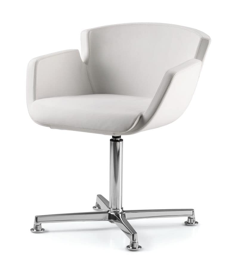 NUBIA 2904, Upholstered chair, chrome base with 4 spokes, for office