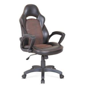 Office armchair racing sports ergonomic chair � SU001RAC, Office chair with wheels, with visible stitching