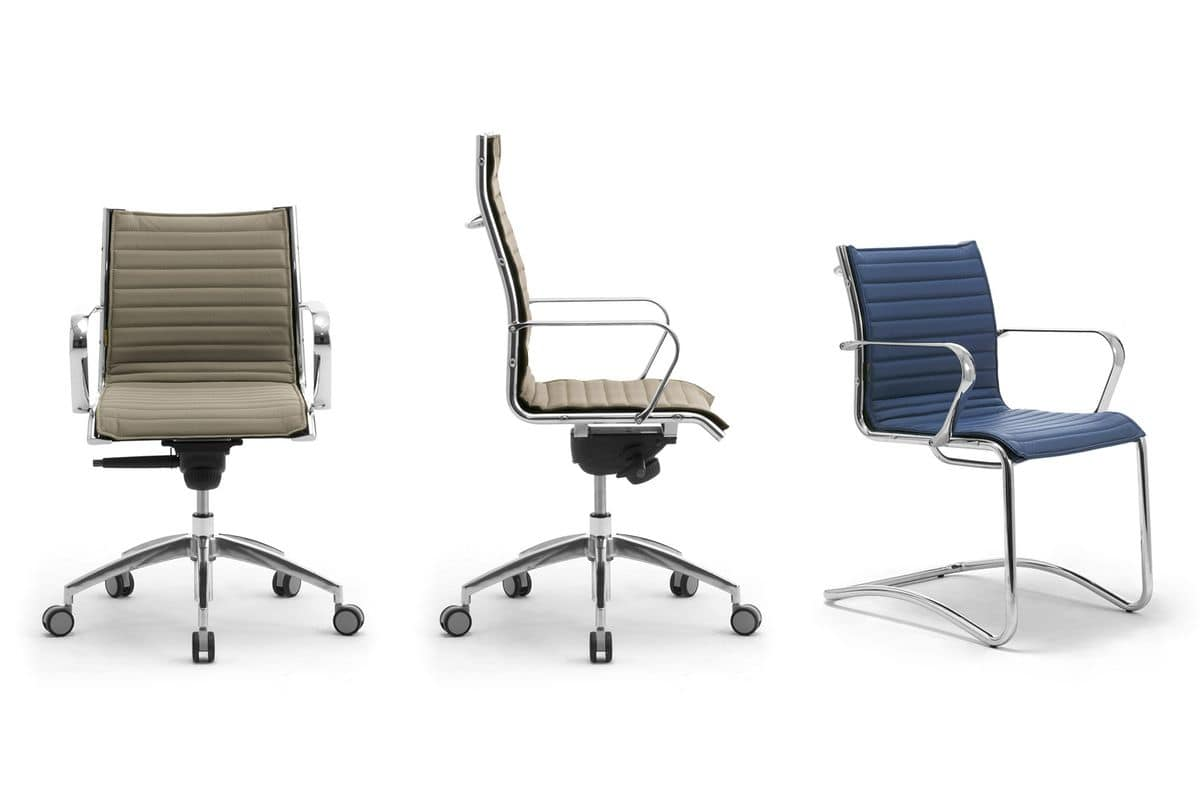 Origami IN guest 70150M, Leather chair with sled base made of chromed steel