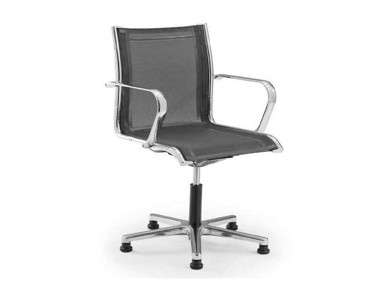 office chair on wheels with seat and backrest in mesh idfdesign