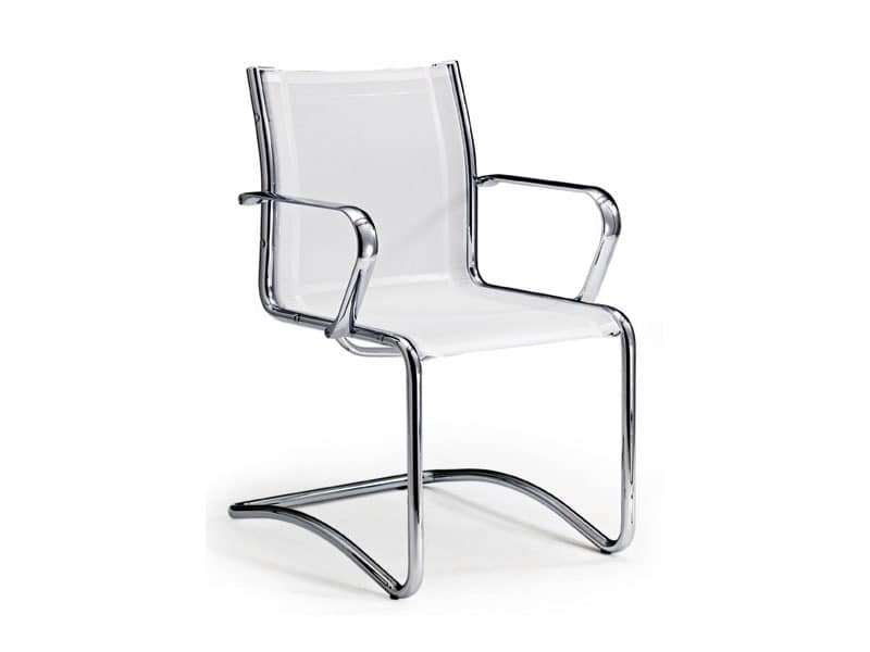 Origami RE guest 70250, Office chair in leather with chromed armrests