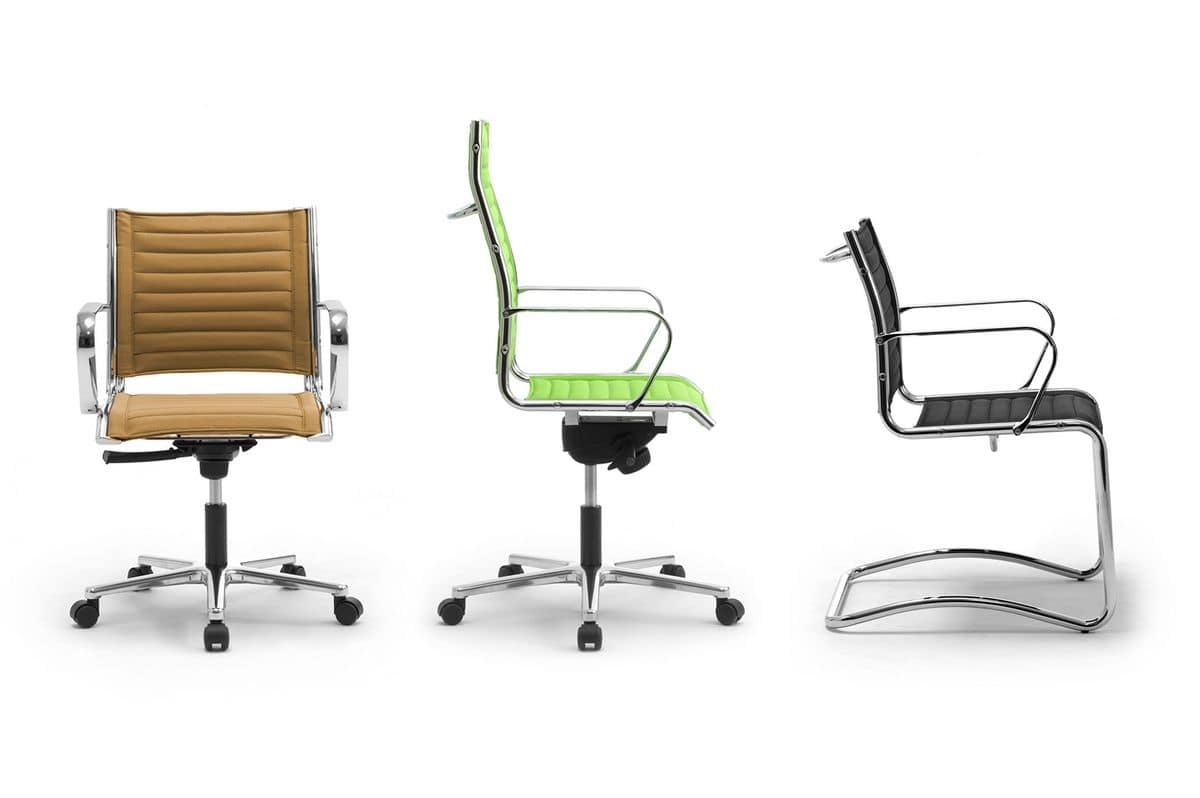 Origami TD guest 70050, Chair made of chromed steel with leather upholstery