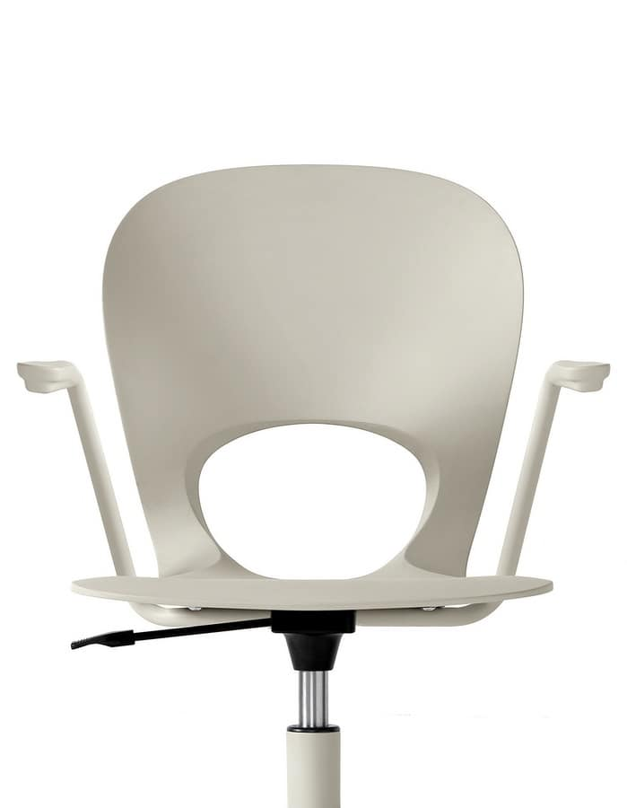 Pikaia with Castors, Chair on wheels, swivel, with polyurethane shell