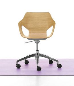 Spark Wood 02, Swivel chair with gas lift, wooden shell