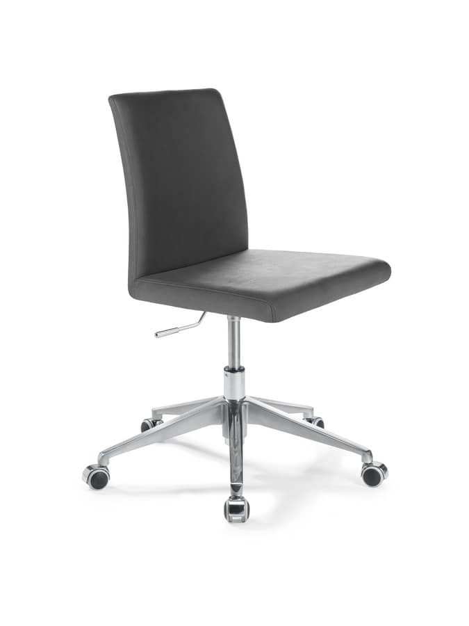 Treviso Office, Office chair with adjustable lift, with leather seat