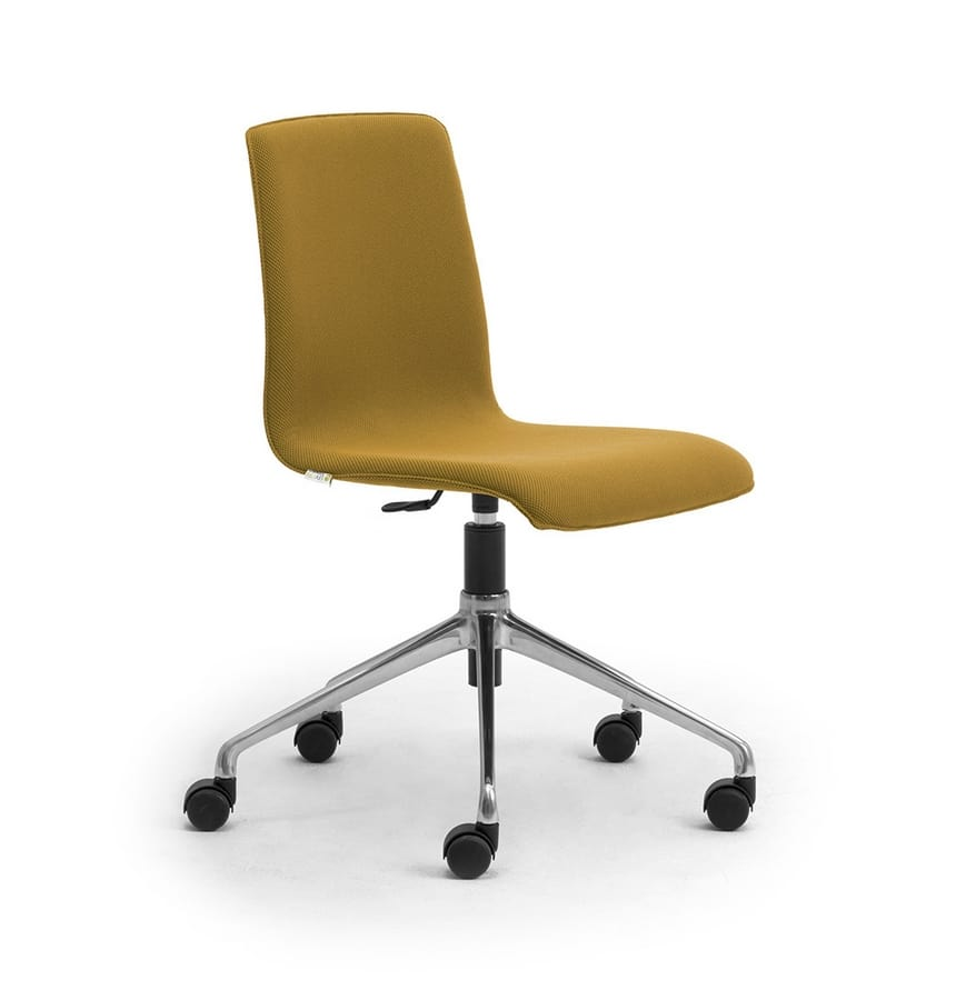 Zerosedici swivel, Swivel chair with 4-spoke base with casters