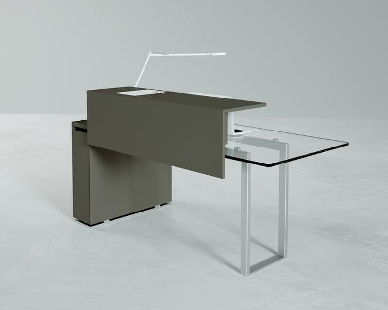 Deck Glass Bancone Reception Counter With Top And Metal Base