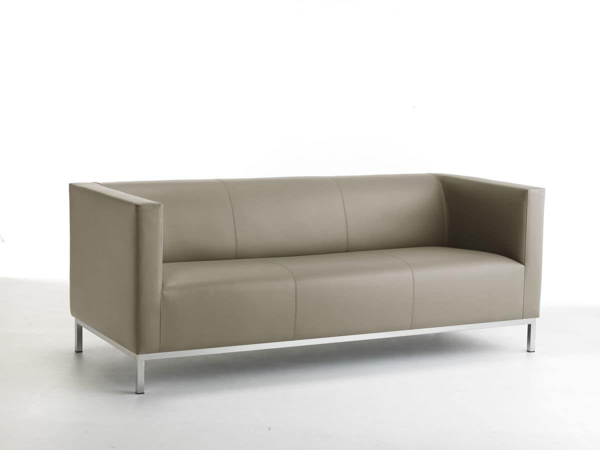 Argo 03, Linear sofa 3-seat, chromed steel base
