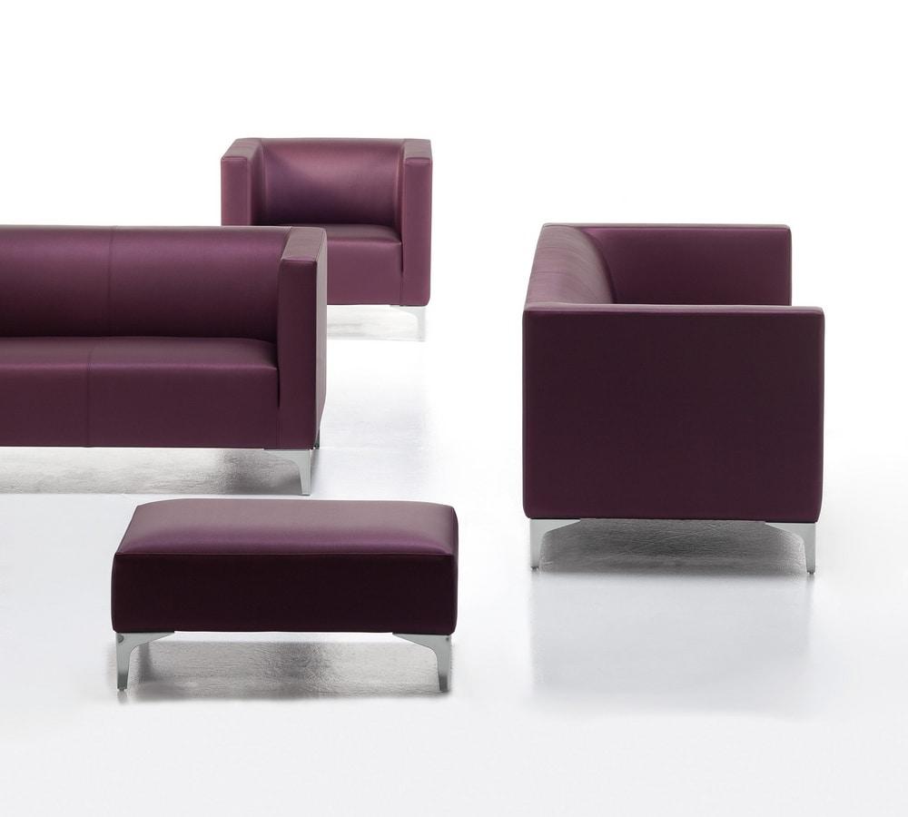 Argo Light 02 03, Upholstered sofa for office, chromed steel feet