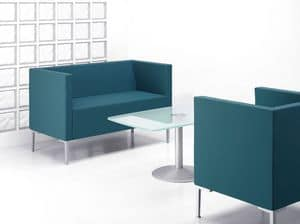 CUBIS DIVANO, Square-shaped sofa with aluminum feet
