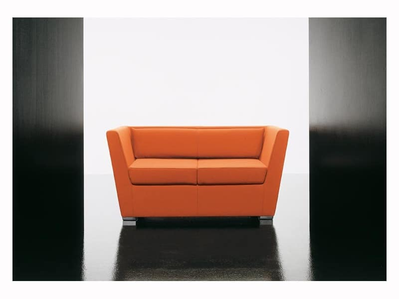 Double 2p, Soft sofa, with aluminum feet, for waiting room
