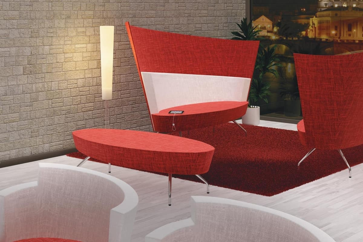 ELIPSE 2D, Modern sofa with metal legs and circular seat