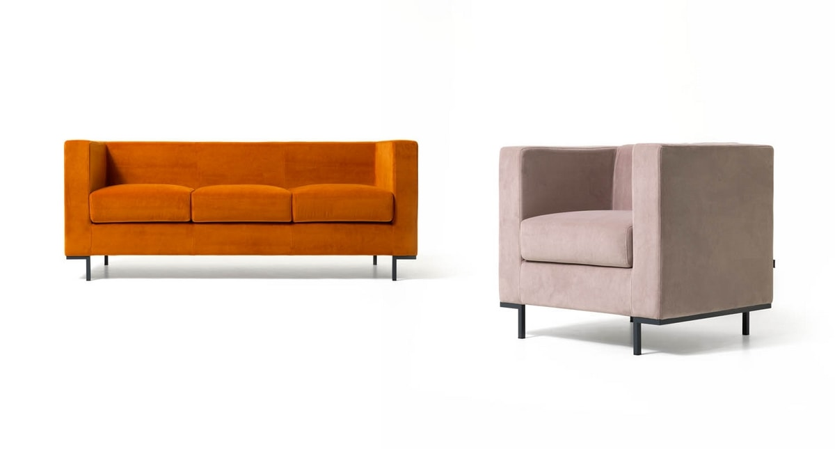 Hall 3p, Sofa for modern lounges areas, with aluminum feet