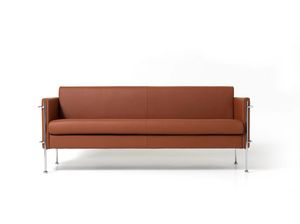 Jazz 3p, Upholstered bench with 3 places, chrome steel frame