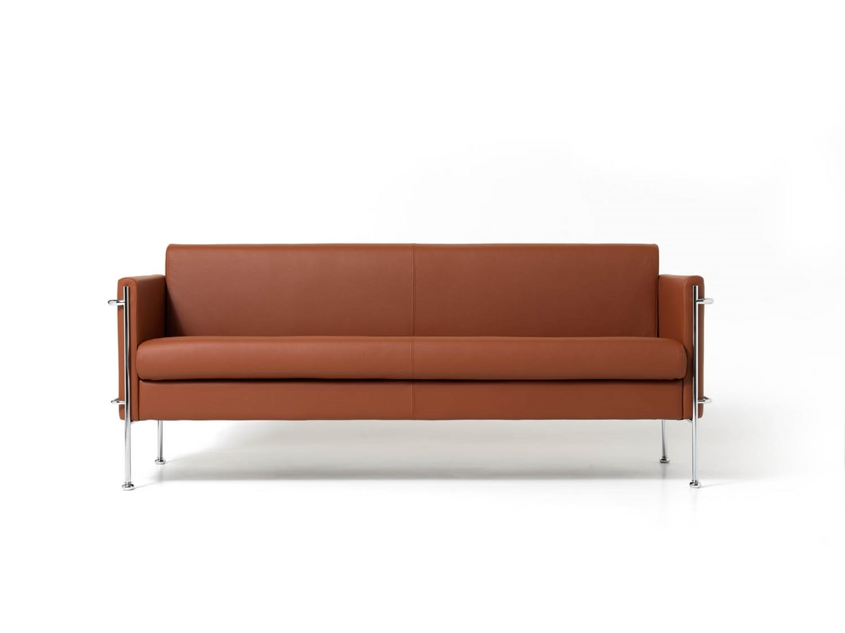Upholstered bench with 3 places, chrome steel frame | IDFdesign